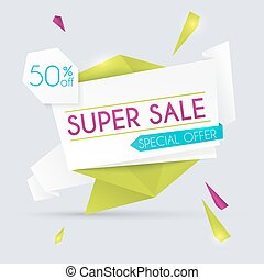Sale paper banner. Sale and discounts. Super Sale and special offer. Sale shopping background and label for business promotion. Vector illustration.