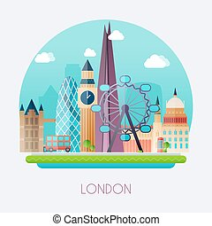 London. Skyline and vector landscape of buildings the capital of Great Britain. Big Ben, bridge, double decker and telephone.