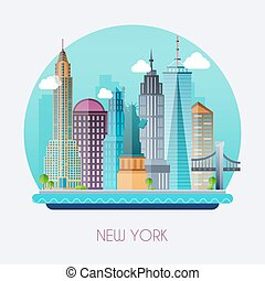 New York City Skyline and vector landscape of buildings and...