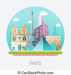 Paris. Skyline and vector landscape of buildings and famous...