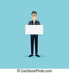 Business man giving presentation with white empty banners. Business flat vector illustration.