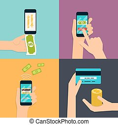 Flat design vector illustration concepts of online payment methods. Internet banking, online purchasing and transaction, electronic funds transfers and bank wire transfer.