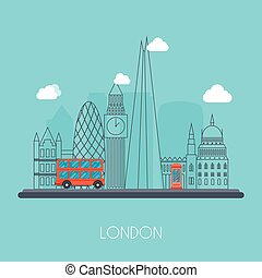 London. Skyline and vector landscape of buildings the capital of Great Britain. Big Ben, bridge, double decker and telephone. Vector illustration.