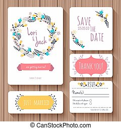 Wedding invitation card set Thank you card, save the date...