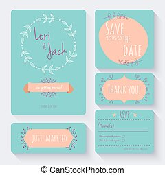 Wedding invitation card set. Thank you card, save the date...