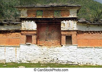 Bhutan, Paro, - Bhutan, mani wall