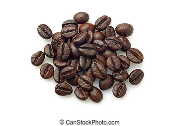 Pile of coffee beans Robusta coffee over white background...