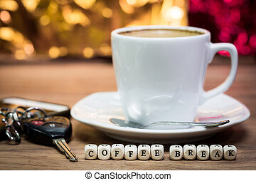 Cup of coffee with keys, Coffee break concept, with