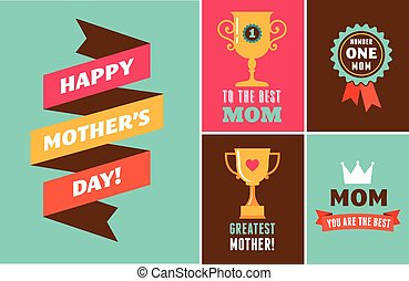 Happy Mother's Day, ribbons, trophy and heart elements