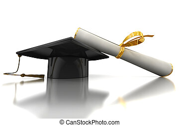 Bachelors hat and diploma - Black bachelors hat and diploma...