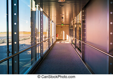 Hallway in Building with glass