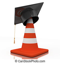Bachelors hat and cone - Bachelors wearing a hat at the cone...