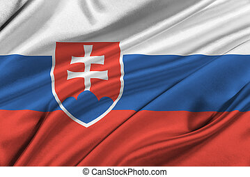 Flag of Slovakia waving in the wind
