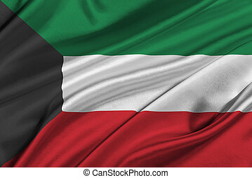 Flag of Kuwait - Flag of Kuwait waving in the wind