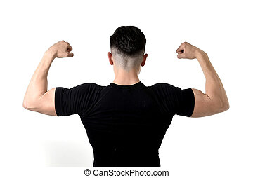 attractive sport man wearing black t-shirt with copy space...