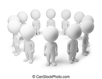 3d small people - standing around. 3d image. Isolated white...