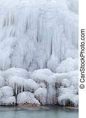 Frozen waterfall - Frozen ice at the waterfall