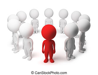 3d small people - allocated from a circle 3d image Isolated...