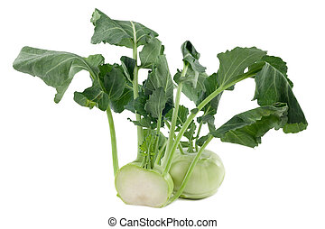 Kohlrabi in front of white background