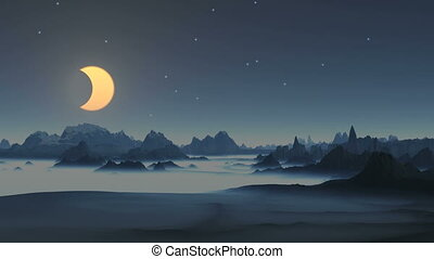 Lunar eclipse over the mountains - The starry night sky...