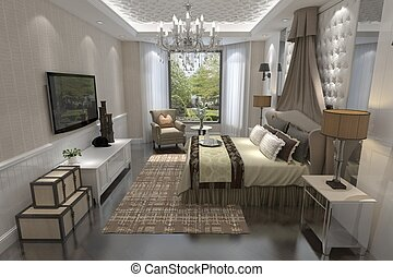 Bedroom Interior 3D Rendering - 3D rendering bedroom...