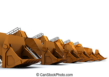 Diggers - Group of Orange diggers isolated on white...