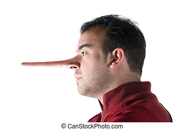 Dishonest Liar - A dishonest man has a nose that grew long...