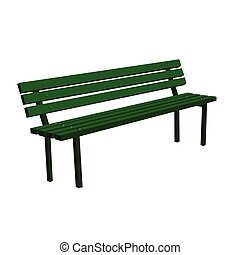 Wooden detailed green bench