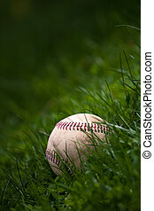 Old Baseball in the Grass - One aged and worn baseball...