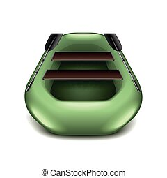 Inflatable boat isolated on white vector - Inflatable boat...