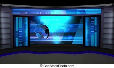 News TV Studio Set -12 - News TV Studio Set 12 - Virtual...