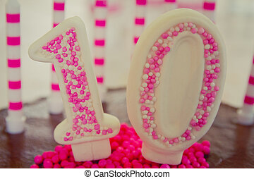 10th Birthday Cake decoration - Cake decoration in the...