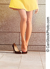 Womans legs in full length - Picture of exhausted womans...