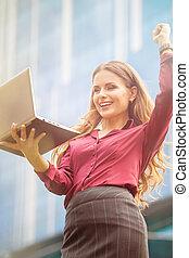 kobieta interesu, używając,  skype