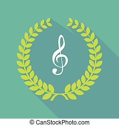 Long shadow laurel wreath icon with a g clef - Illustration...