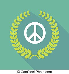 Long shadow laurel wreath icon with a peace sign -...