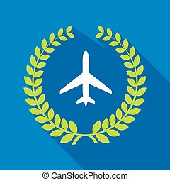 Long shadow laurel wreath icon with a plane