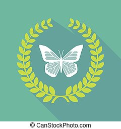 Long shadow laurel wreath icon with a butterfly