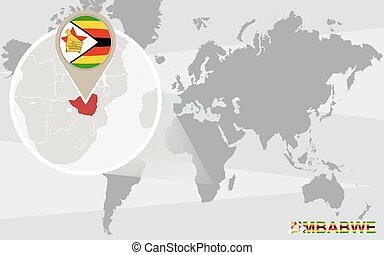World map with magnified Zimbabwe Zimbabwe flag and map