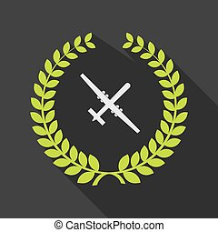 Long shadow laurel wreath icon with a war drone -...