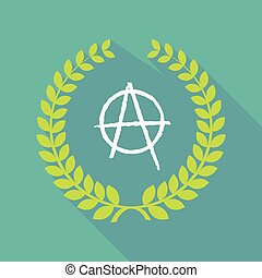 Long shadow laurel wreath icon with an anarchy sign -...