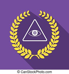 Long shadow laurel wreath icon with an all seeing eye -...