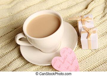 café, en, Un, tibio, Atmósfera,