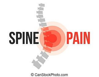 Lumbar spine pain, anatomy and medical conceptual vector...