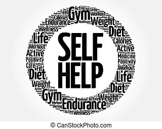 Self Help circle word cloud, health concept