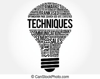 Techniques bulb word cloud, business concept