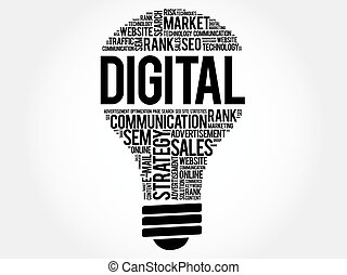 DIGITAL bulb word cloud, business concept