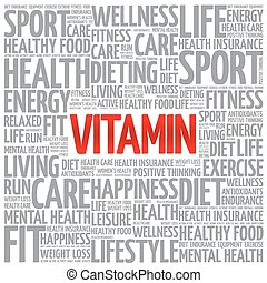 VITAMIN word cloud background, health concept