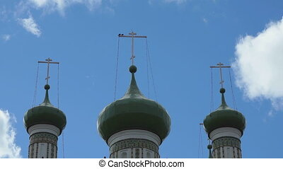 Beautiful domes with crosses of Orthodox Church on...