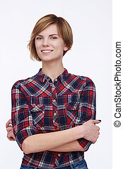 Happy woman with crossed hands on isolated background